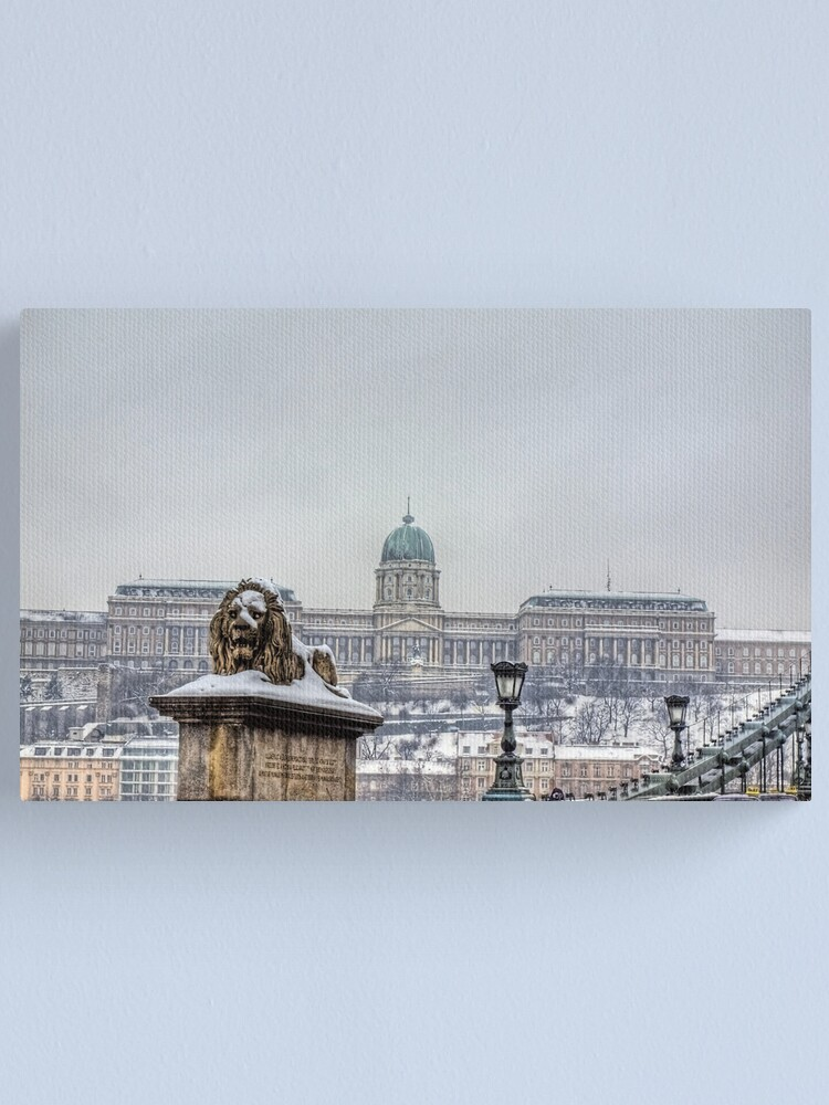 Alternate view of The Lion, the Castle & the Chain Bridge  - Budapest Canvas Print