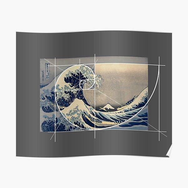 Hokusai Meets Fibonacci, Golden Ratio, Version Poster