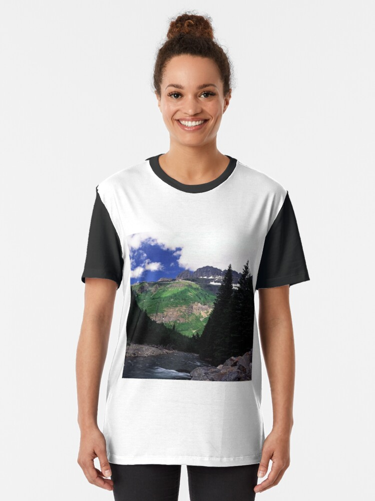 Alternate view of McDonald Creek, Going-to-the-Sun Road, Glacier N.P.  Graphic T-Shirt