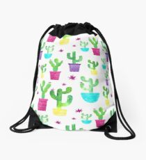 Beautiful Watercolor Succulent Potted Cactus Pattern Drawstring Bag