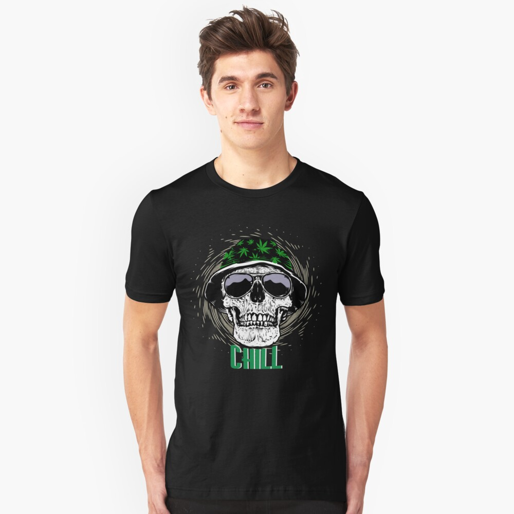 Cool skull with cannabis Unisex T-Shirt Front