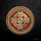 Gold Celtic Knot Cross over Red with Gold Medallion over Black Velvet by Serge Averbukh