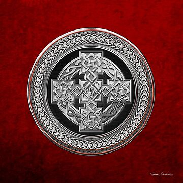 Silver Celtic Knot Cross over Black with Silver Medallion over Red Leather by Captain7