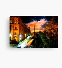 Train at Night Salts Mill, Saltaire Canvas Print