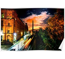 Train at Night Salts Mill, Saltaire Poster