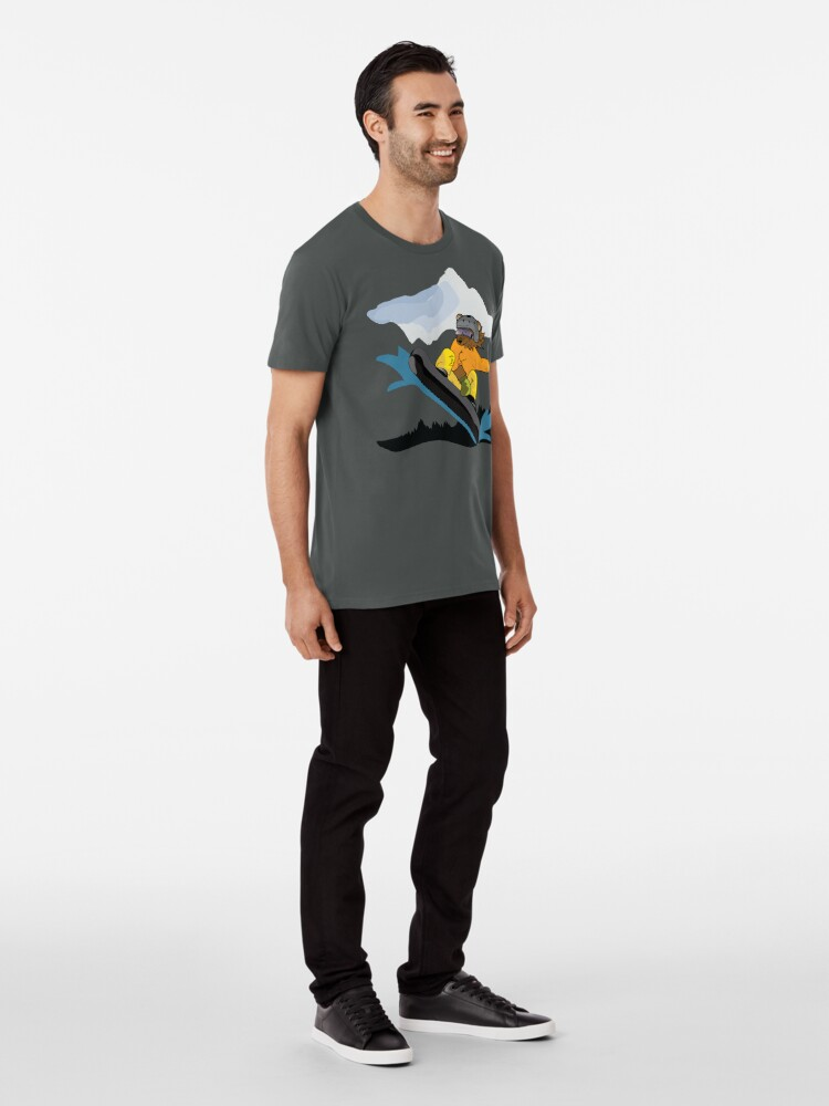 Alternate view of Snowboarding Grizzly Bear Premium T-Shirt