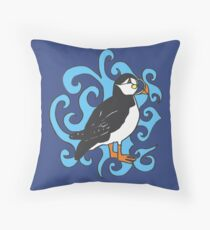 Puffin in Blue Swirls Throw Pillow