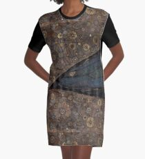 Cosmic Latte Stars and Dragon Space Ship Graphic T-Shirt Dress