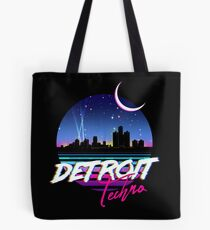 DETROIT TECHNO - Retro 80s Design Tote Bag