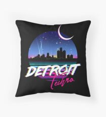 DETROIT TECHNO - Retro 80s Design Throw Pillow