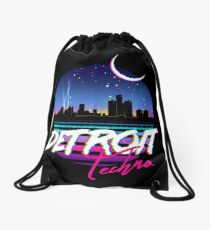DETROIT TECHNO - Retro 80s Design Drawstring Bag