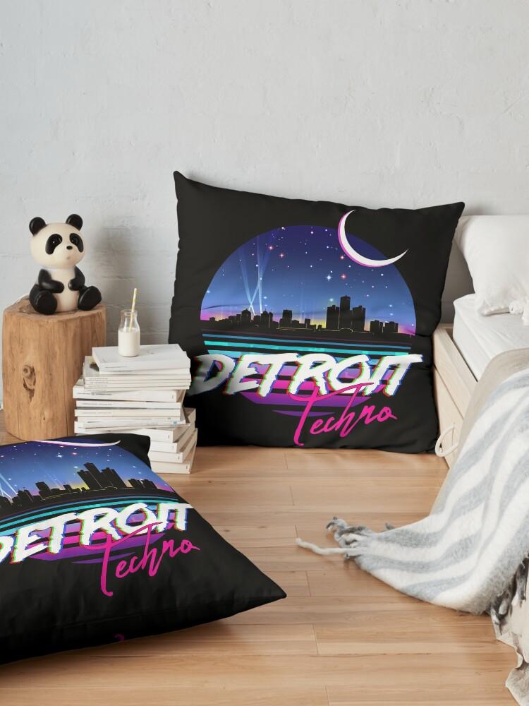 Alternate view of DETROIT TECHNO - Retro 80s Design Floor Pillow
