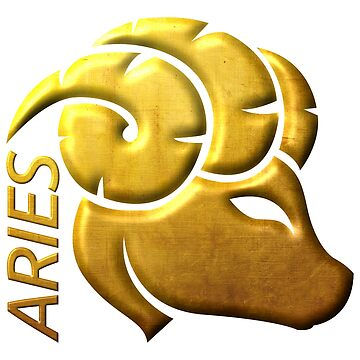 Golden Aries Zodiac Sign Relief Stamped In Gold by peter2art