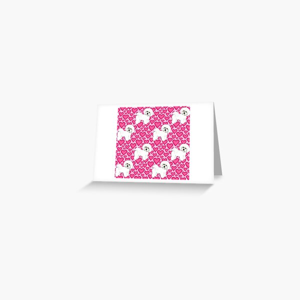 Bichon Frise Valentines Day Love hearts in pink Greeting Card