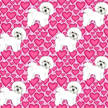 Bichon Frise Valentines Day Love hearts in pink by MagentaRose
