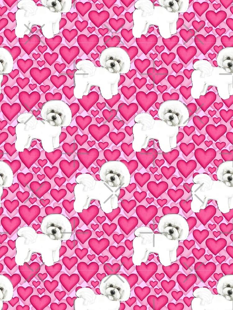 Bichon Frise Valentines Day Love hearts in pink by MagentaRose