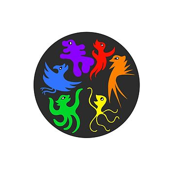 Happy Monsters in a Rainbow Pride Circle (Black Circle Background) by GretaMonster