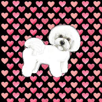 Bichon Frise Valentines Hearts by MagentaRose