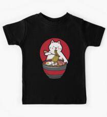 Camiseta para niños Camiseta linda del gato del animado de Kawaii del regalo de los tallarines de Ramen