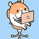 Laptop Hammie - hamster with laptop computer  by Zoe Lathey