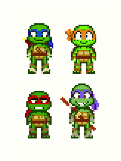 Teenage Mutant Ninja Turtles 2012 Mini Pixels By Geekmythology