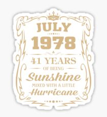 July 1978 Sunshine Mixed With A Little Hurricane Sticker