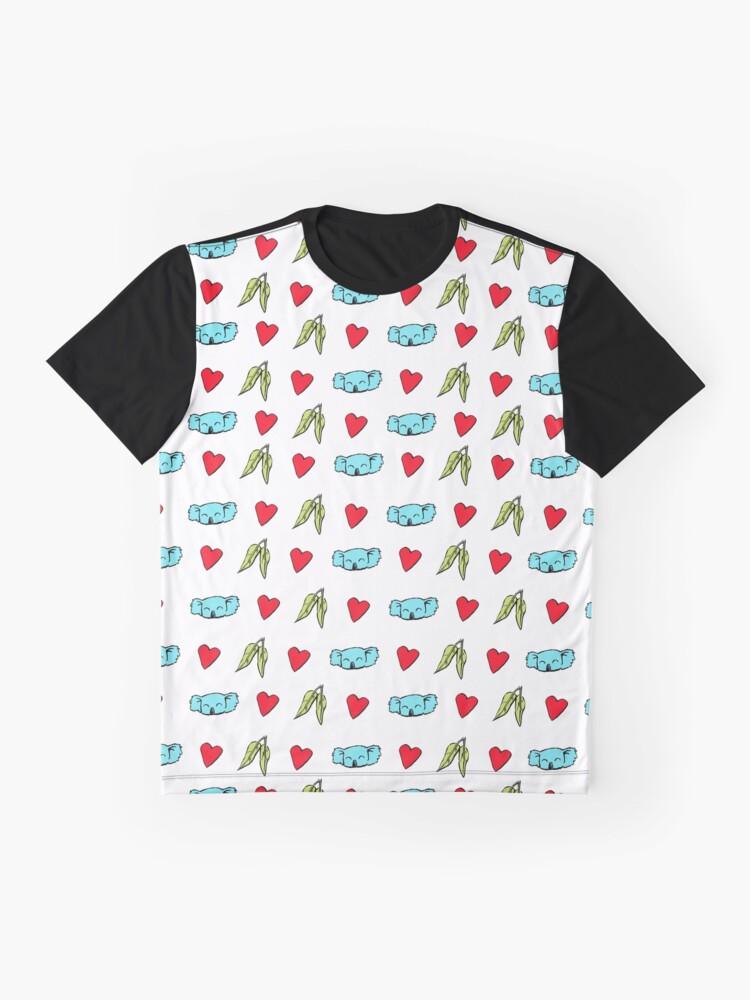 Alternate view of Koala Loves Eucalyptus Leaves Pattern Graphic T-Shirt
