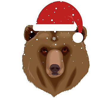 Christmas Bear in Santa Hat by KanigMarketplac