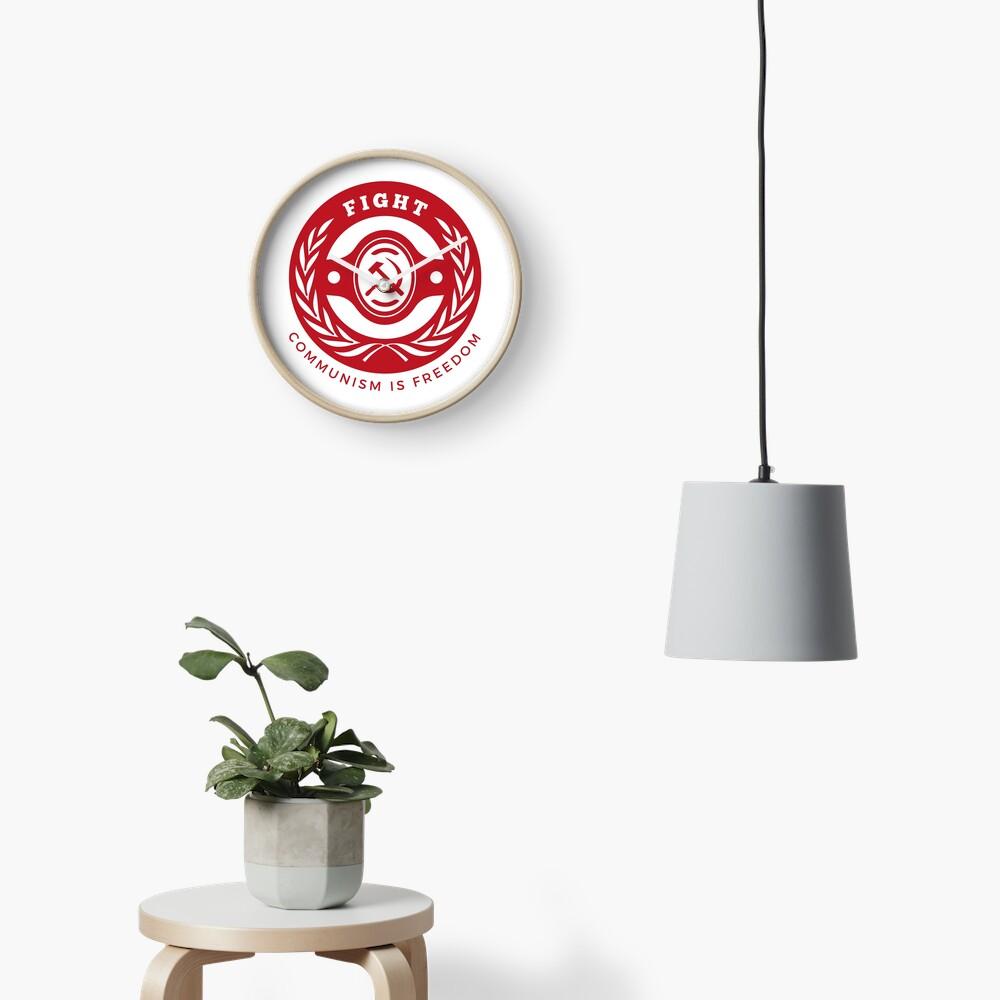 Badge Fight for Communism Freedom Hammer Sickle Clock