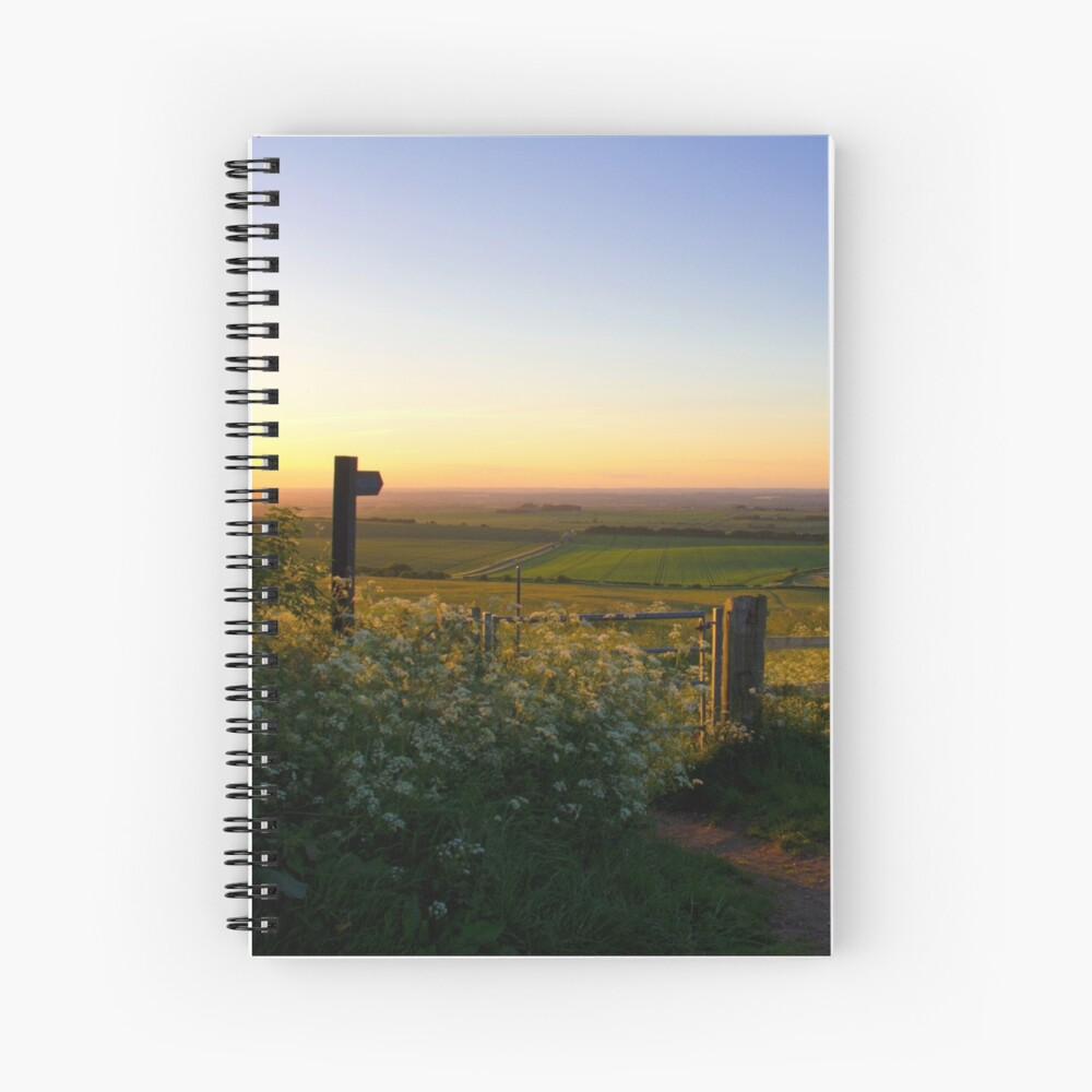 Oxfordshire at sunset from the Downs Spiral Notebook