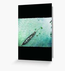 Green Boat Lagoon in Kerala -131 Greeting Card
