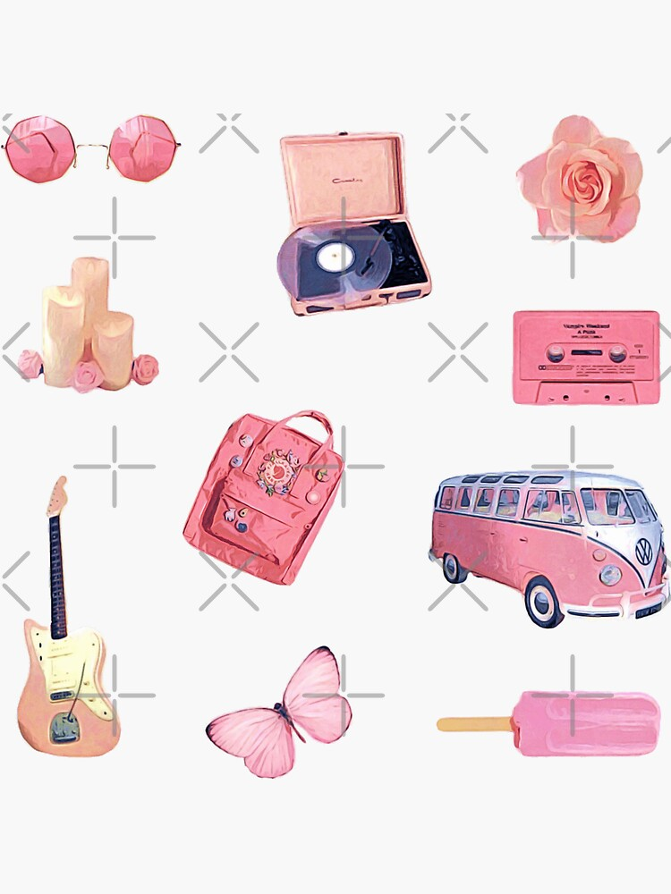 Pink Hippie Retro Summer Vibes ~ Sticker Sheet Bundle Pack Collection Set 2 by Neon-Wolf