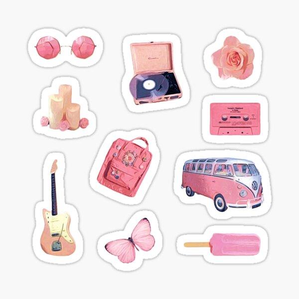 Pink Hippie Retro Summer Vibes ~ Sticker Sheet Bundle Pack Collection Set 2 Sticker