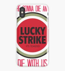 mad men lucky strike ad - red text iPhone Case