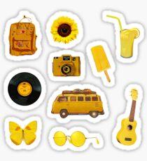 Yellow Hippie Retro Summer Vibes - Sticker Sheet Collection Bundle Pack Sticker