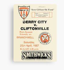 Derry City vs Cliftonville Retro Match Programme Metal Print