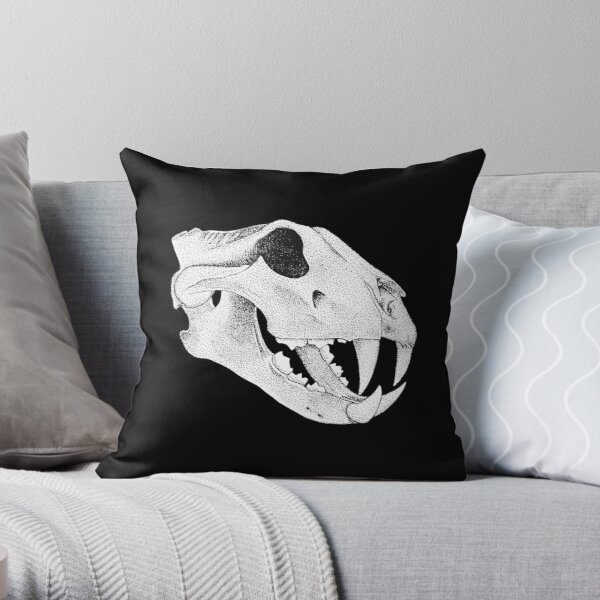 Prehistoric Cat Skull Throw Pillow