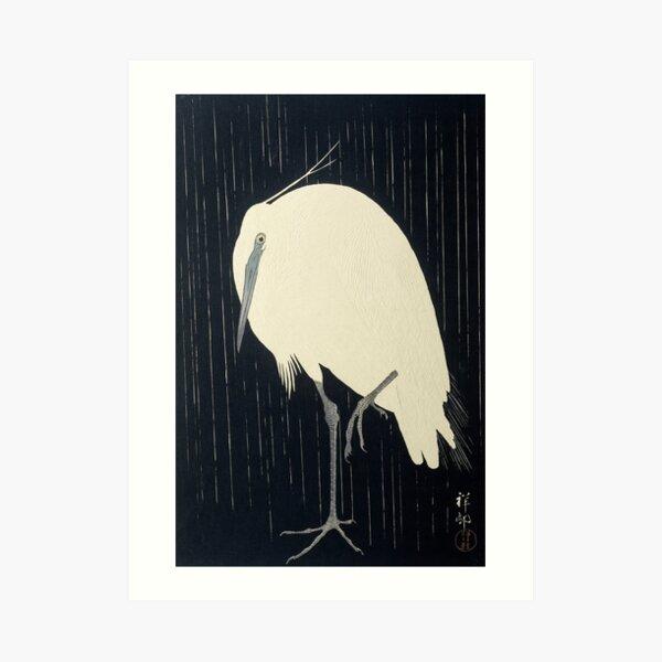 Egret in the Rain, Ohara Koson, 1920s Art Print
