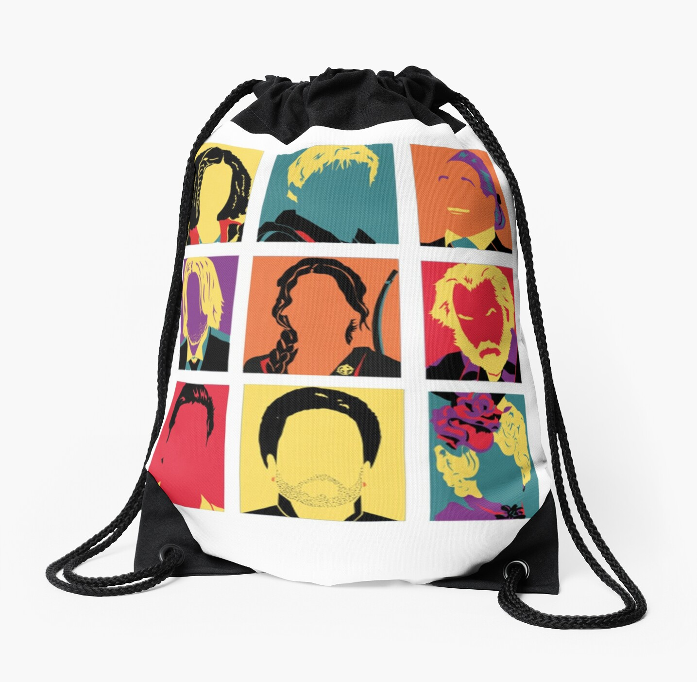 Hunger Games Characters Drawstring Bag By Hilaarya Redbubble