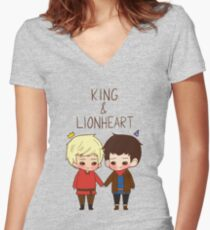 King and Lionheart Women's Fitted V-Neck T-Shirt