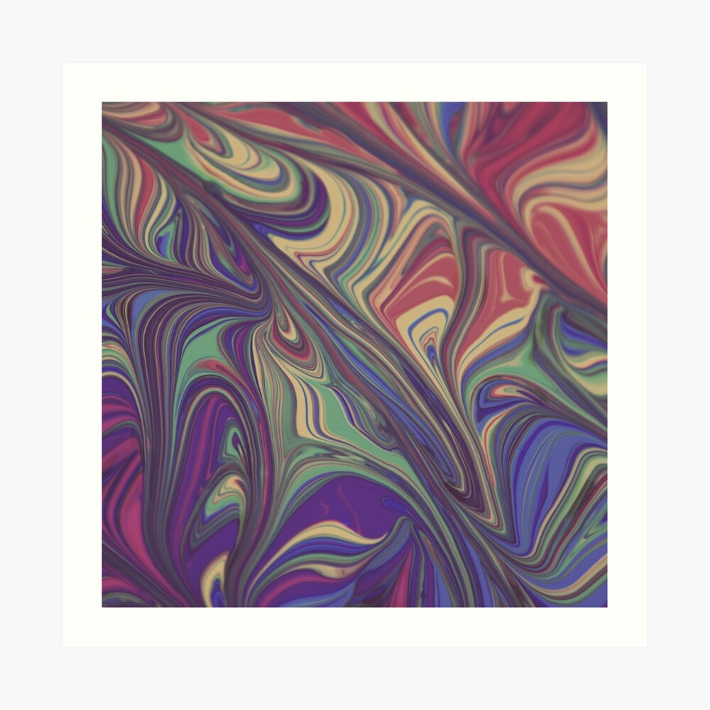 Psychedelic Lines Over the Rainbow Liquid Effect Art Print
