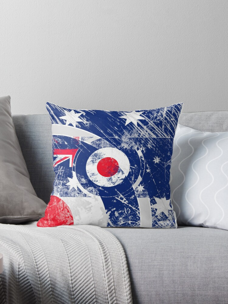 Quot Grunge Mod Target Roundel Australia Quot Throw Pillows By
