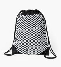 black and white checkered Drawstring Bag