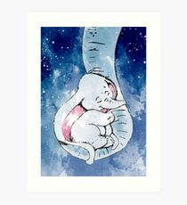 Dumbo and his mother, Mother and baby elephant Art Print