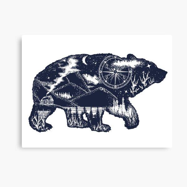 Bear double exposure Canvas Print