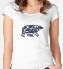 Bear double exposure Fitted Scoop T-Shirt