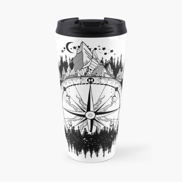 Mountain and compass Travel Mug