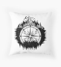 Mountain and compass Throw Pillow