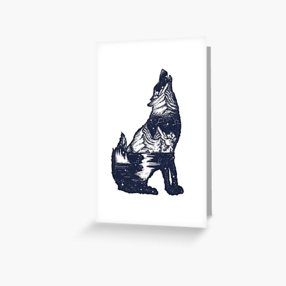 Wolf Doppelbelichtung Grußkarte