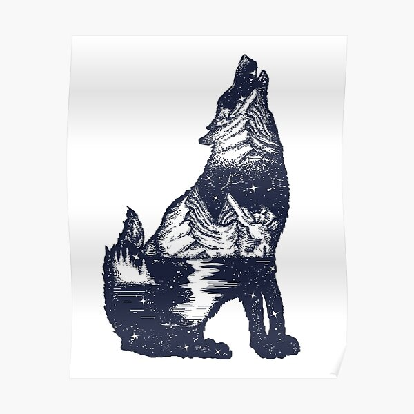 Wolf double exposure Poster